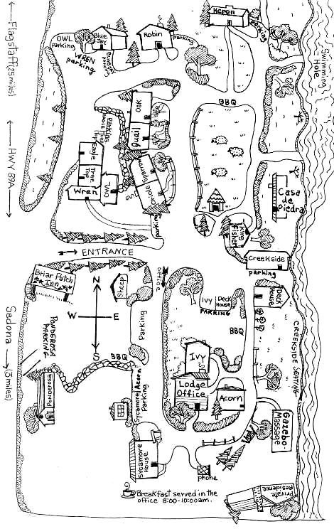 Property Map   Briar Patch Inn   Sedona Arizona   Cozy Cabins In Oak Creek  Canyon