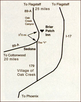 Map to the Briar Patch Inn Sedona Cabins